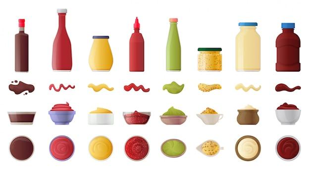 Sauce für bbq realistische icon-set Premium Vektoren