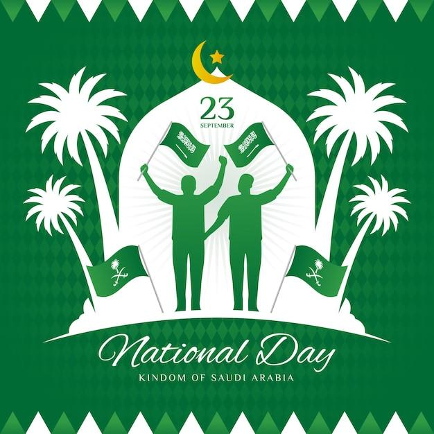 Saudi-nationalfeiertag mit leuten, die flaggen halten Premium Vektoren
