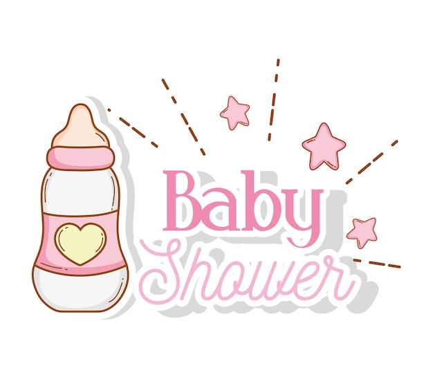 Saugflasche mit sternen zur babypartydekoration Premium Vektoren