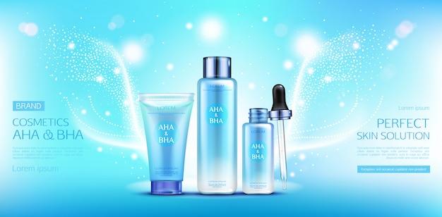 Saure kosmetik, aha, bha, fruchtschalenflaschen eingestellt. Kostenlosen Vektoren