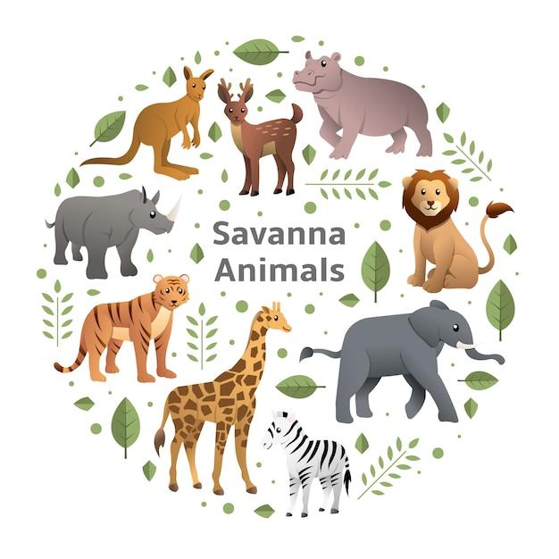 Savannentiere vektor festgelegt Premium Vektoren