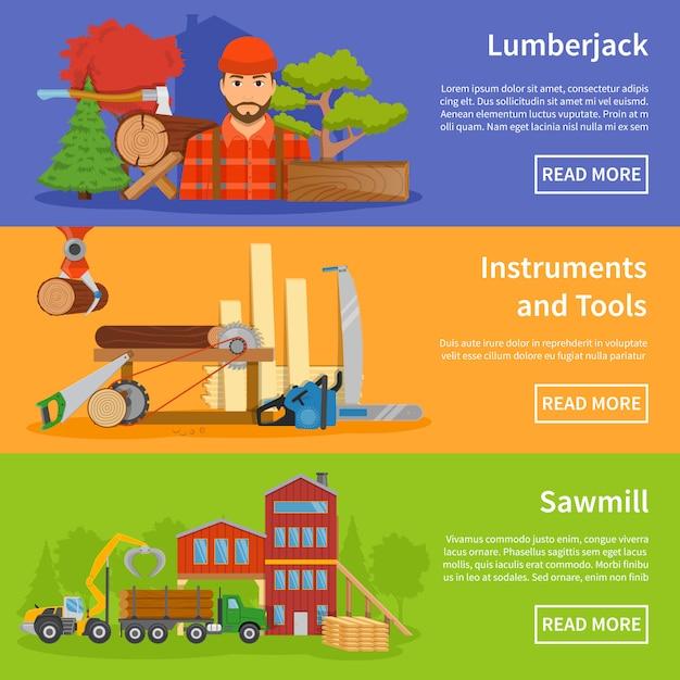Sawmill timber flat banner Kostenlosen Vektoren