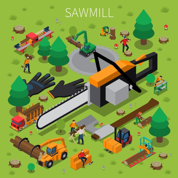 Sawmill timber mill lumberjack isometric composition Kostenlosen Vektoren