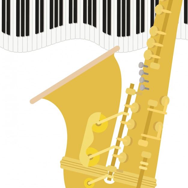 Saxophon-musikinstrumentmuster Premium Vektoren