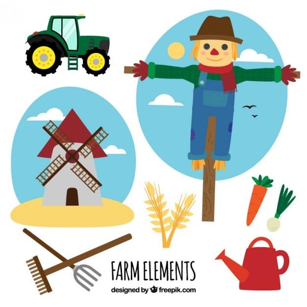 Scarecrow mit landwirtschaftlichen elemente Kostenlosen Vektoren