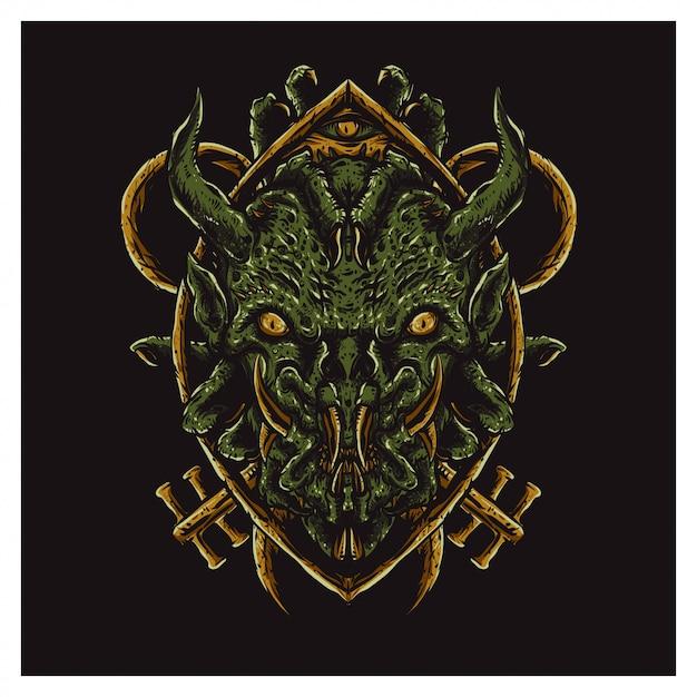 Scarry green face monster Premium Vektoren
