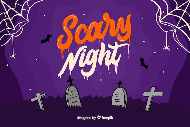 Scary night schriftzug mit grabsteinen Kostenlosen Vektoren