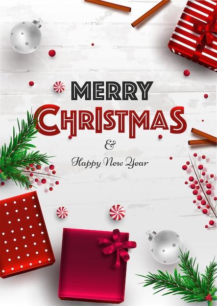 Schablone oder flieger der frohen weihnachten und des guten rutsch ins neue jahr mit draufsicht von geschenkboxen, von kiefernblättern, von beeren und von flitter Premium Vektoren