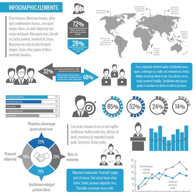 Schablonen-vektorillustration des effektiven managements des teamwork-geschäftstreffens der globalen vernetzung infographic Premium Vektoren