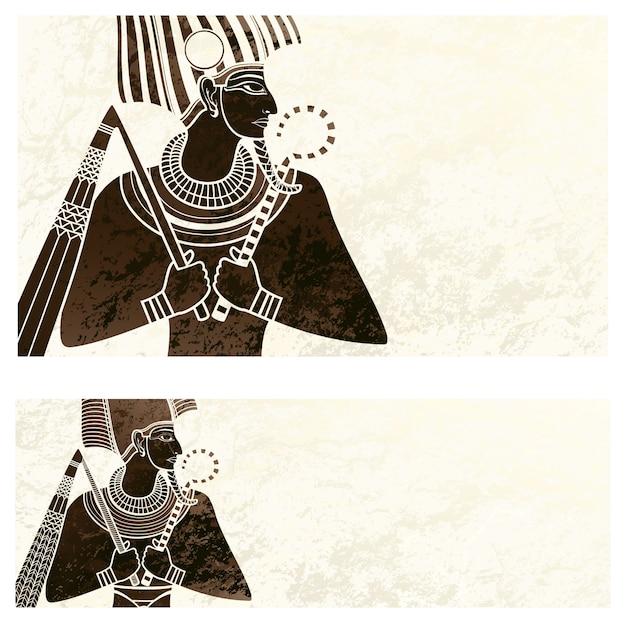 Schablonenfahne mit altem ägypten-symbol Premium Vektoren