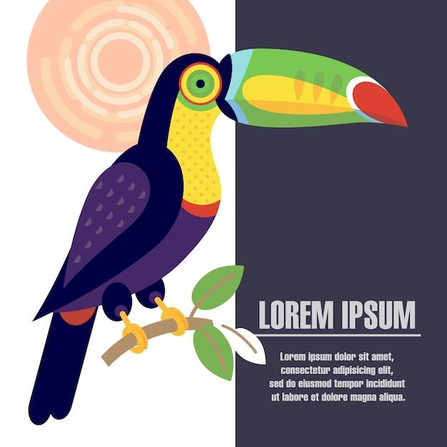Schablonenplakat mit dem bild des tukanvogels. Premium Vektoren
