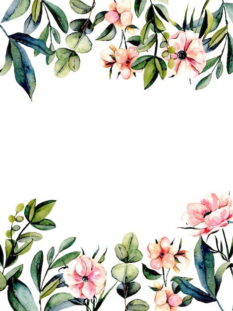 Schablonenpostkarte mit rosa anemonenblumen und eukalyptuszweigen Premium Vektoren