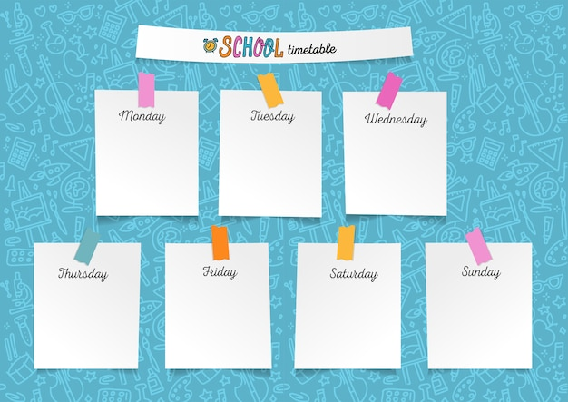 Schablonenschulzeitplan für studenten oder schüler. abbildung mit blättern papier auf aufklebern. wochentage Premium Vektoren