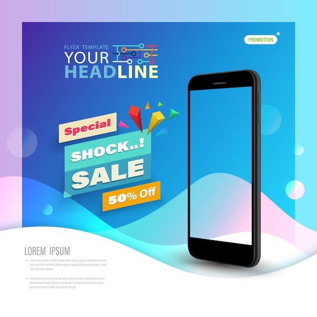 Schablonentechnologie mit smartphone Premium Vektoren