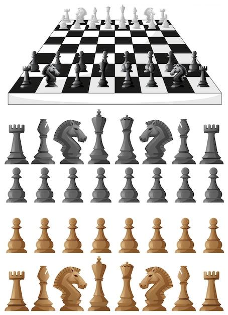 Schachbrett und verschiedene schachfiguren illustration Kostenlosen Vektoren