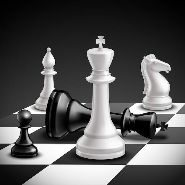 Schachspielkonzept mit realistischem brett und schwarzweiss-stücken Kostenlosen Vektoren