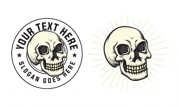 Schädel abzeichen logo vintage Premium Vektoren