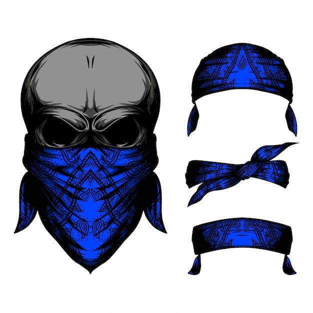 Schädel blaues stirnband Premium Vektoren