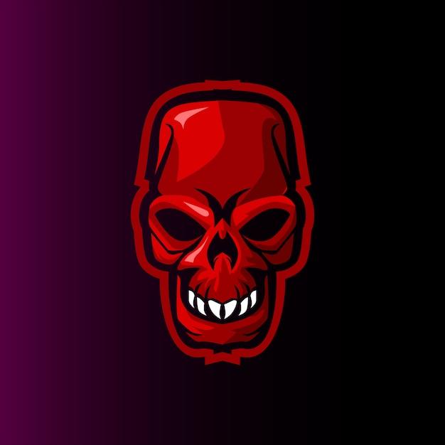 Schädel böse gaming-maskottchen-logo Premium Vektoren