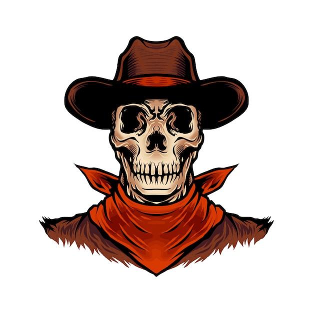 Schädel-cowboy Premium Vektoren