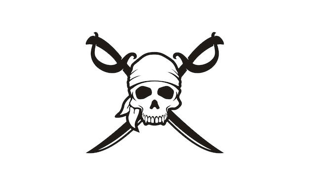 Schädel & crossing schwerter piraten logo Premium Vektoren