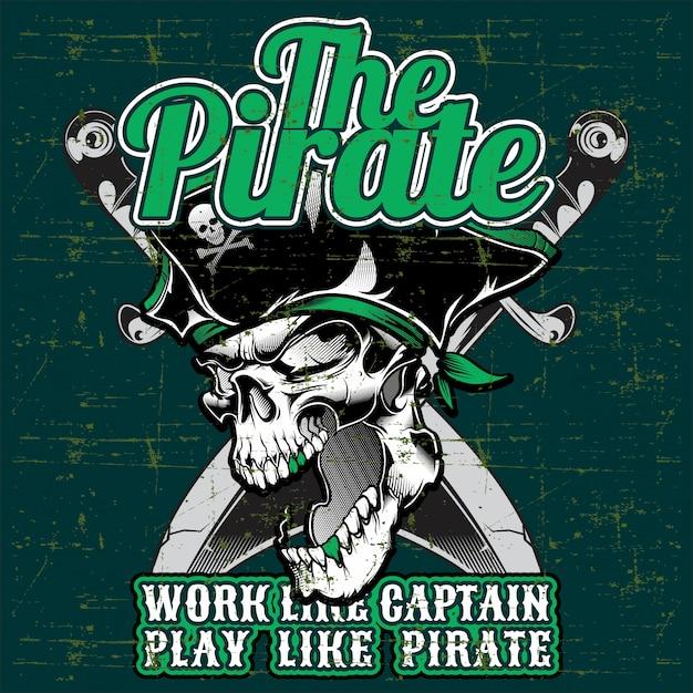 Schädel den piraten mit dem kreuzschwert Premium Vektoren