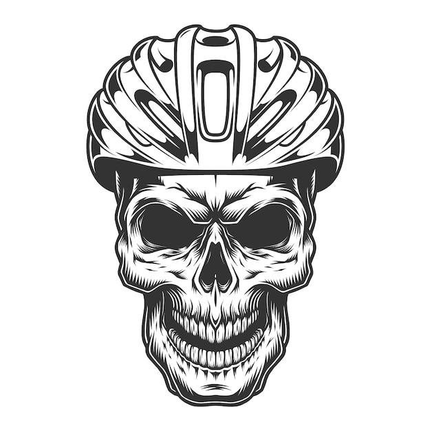 Schädel im fahrradhelm Kostenlosen Vektoren