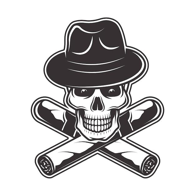 Schädel in gangsterhut und zwei gekreuzten zigarrenillustration in monochrom auf weißem hintergrund Premium Vektoren