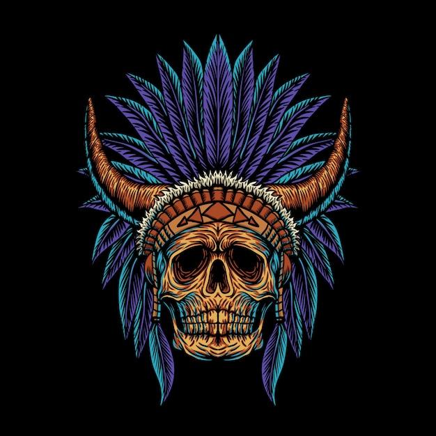 Schädel indian horn illustration Premium Vektoren