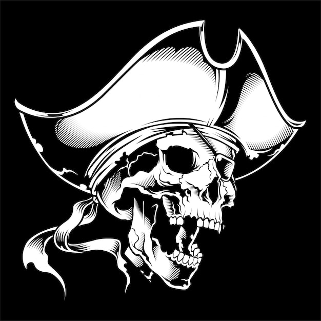 Schädel-kapitän des piraten im rad Premium Vektoren