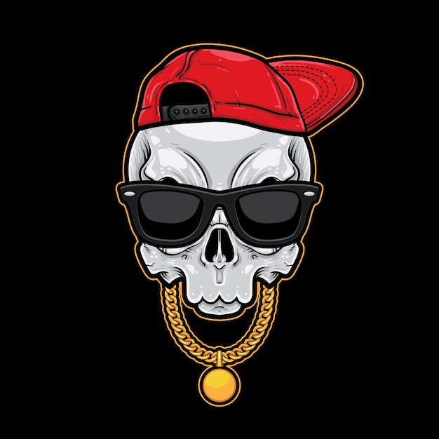 Schädel-karikatur-hiphop-art Premium Vektoren