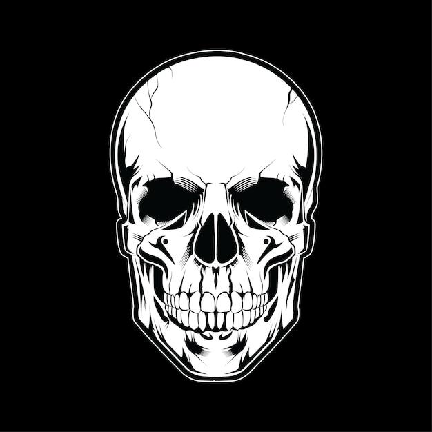 Schädel-kopfillustrations-weiße art auf dunklem hintergrund Premium Vektoren