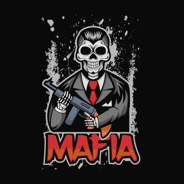 Schädel mafia-vektor-illustration Premium Vektoren