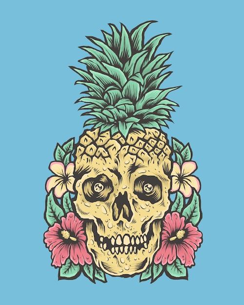 Schädel mit ananaskopf und blumen. tropische vibes illustration Premium Vektoren