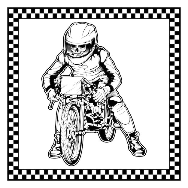 Schädel mit dem motorrad Premium Vektoren