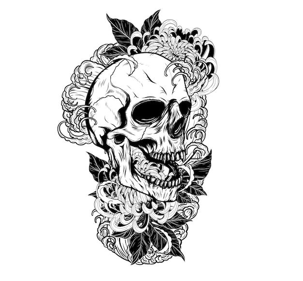 Schädel mit der zeichnung der chrysanthemetätowierung eigenhändig Premium Vektoren