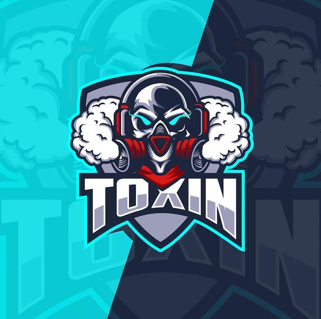Schädel mit gasmaske maskottchen esport logo design Premium Vektoren