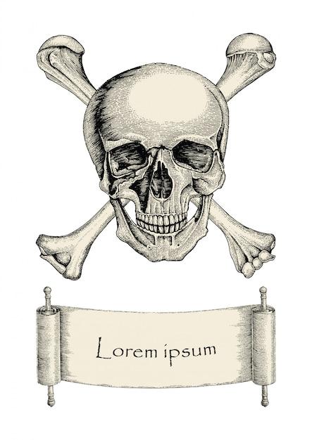 Schädel mit gekreuzten knochen, piratensymbol, logo handzeichnung vintage-stil mit band Premium Vektoren