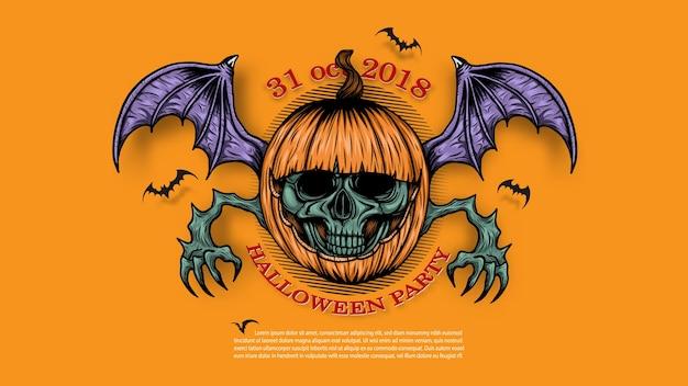 Schädel mit halloween-kürbishintergrund eigenhändig zeichnen. Premium Vektoren