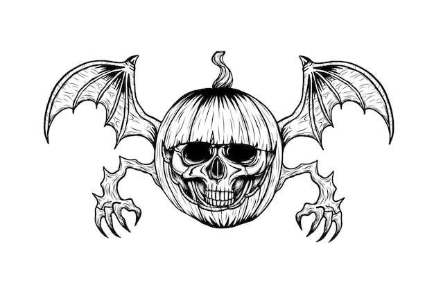 Schädel mit halloween-kürbistätowierung eigenhändig zeichnen. Premium Vektoren