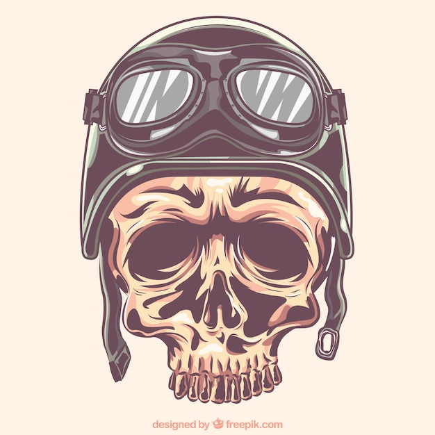 Schädel mit helm und biker-brille Kostenlosen Vektoren