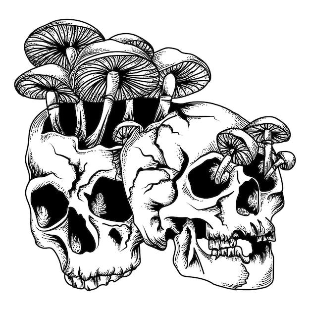 Schädel mit pilz-schwarzweiss-illustration Premium Vektoren