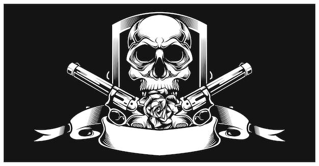 Schädel mit pistole links und rechts Premium Vektoren