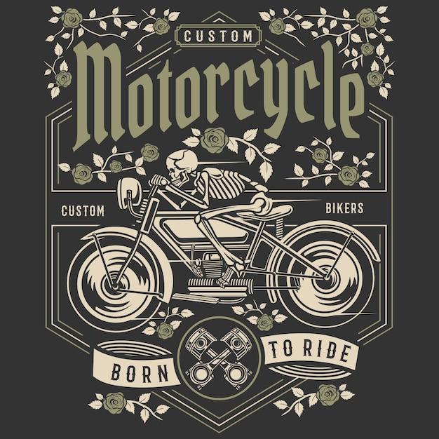 Schädel-motorrad Premium Vektoren