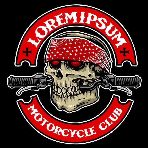 Schädel motorradclub Premium Vektoren