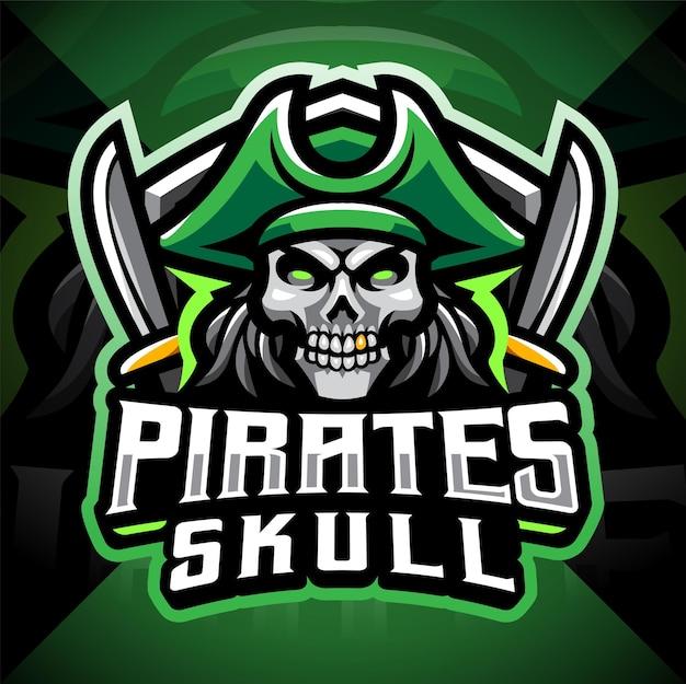 Schädel piraten maskottchen gaming logo design Premium Vektoren