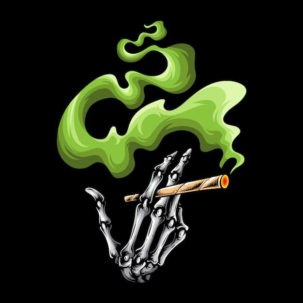 Schädel rauchen finger-logo Premium Vektoren