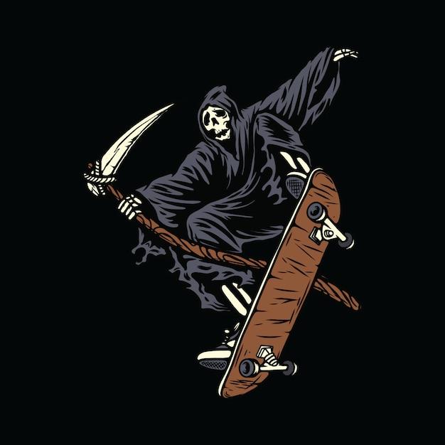 Schädel-skeleton grausigkeits-halloween-skateboarding-illustration Premium Vektoren