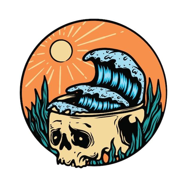 Schädel-skeleton horror-halloween-sommer-strand-illustration Premium Vektoren