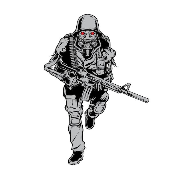 Schädel-soldat-armee holen gewehr Premium Vektoren